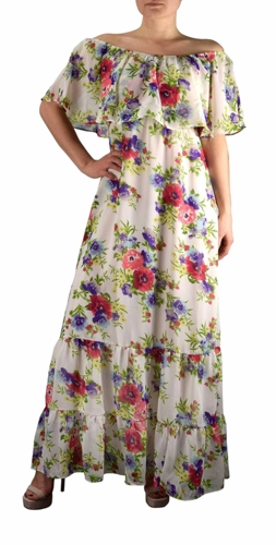 1970 Style Gypsy Womens Bohemian Vintage Floral On or Off the Shoulder Maxi Dress (White)