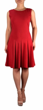 Knitted Fit & Flare Women's Casual 100% Cotton Pleated Sleeveless Skater Vintage Dress (More Colors)