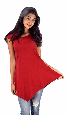 Womens Cotton Summer Tank Top Tunic Handkerchief Hem Shirt Red