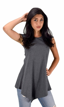 Womens Cotton Summer Tank Top Tunic Handkerchief Hem Shirt Grey