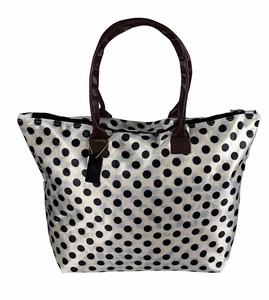 Womens Fashion Bag Beach Bag Water Resistant Bag Large Zip Tote Bag Shoulder Handbag Polka Dot White & Black
