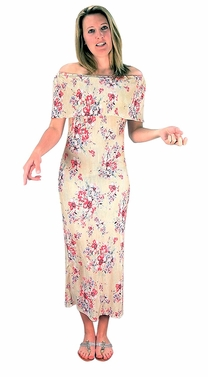 Womens Floral Print Pleat Fabric Off Shoulder Maxi Dress Champagne