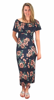 Womens Floral Print Pleat Fabric Off Shoulder Maxi Dress Navy