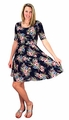 Womens Half Sleeves Rose Floral Print Princess Seam Skater Dress Navy