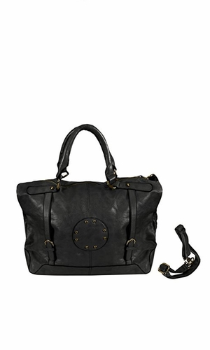 Womens Handbags with Metal Studded Embellishments and 3-in-1 handles Black