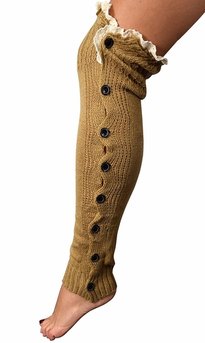 Womens Luxury Warm Chic Winter Knitted Button Up Boot Cut Leg Warmers