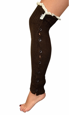 Womens Luxury Warm Chic Winter Knitted Button Up Boot Cut Leg Warmers (Brown)