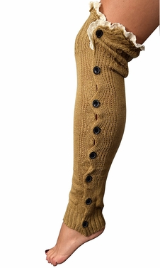 Womens Luxury Warm Chic Winter Knitted Button Up Boot Cut Leg Warmers (Camel)