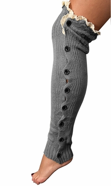 Womens Luxury Warm Chic Winter Knitted Button Up Boot Cut Leg Warmers (Grey)