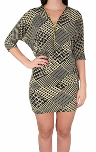 Womens Oversized Pullover Zip-Neck Fall Dolman Top Dress (Houndstooth)