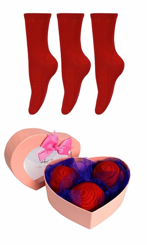 Womens Rose Fold Bouquet Cotton Crew Socks Heart Box 3 Pack Red
