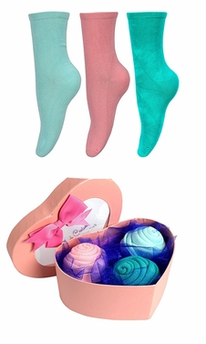 Womens Rose Fold Bouquet Cotton Crew Socks Heart Box 3 Pack Seafoam Teal Pink
