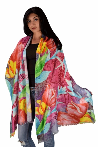 Womens Soft Fashion Artistic Digital Print Long Scarf Wrap Shawl (Artsy Tulip)