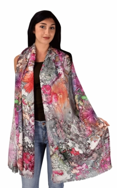 Womens Soft Fashion Artistic Digital Print Long Scarf Wrap Shawl (Daisy Floral)
