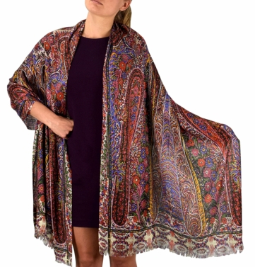 Womens Soft Fashion Artistic Digital Print Long Scarf Wrap Shawl (Floral Mosaic)