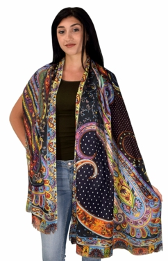 Womens Soft Fashion Artistic Digital Print Long Scarf Wrap Shawl (Navy Paisley)