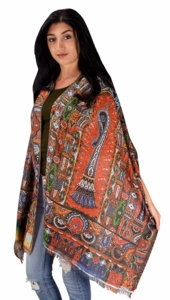 Womens Soft Fashion Artistic Digital Print Long Scarf Wrap Shawl (Orange Mosaic)
