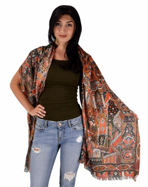 Womens Soft Fashion Artistic Digital Print Long Scarf Wrap Shawl (Orange Tribal)