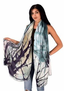 Womens Soft Fashion Artistic Digital Print Long Scarf Wrap Shawl (Paint Splatter)