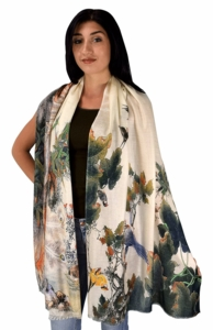 Womens Soft Fashion Artistic Digital Print Long Scarf Wrap Shawl (Paradise Garden)