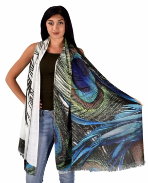 Womens Soft Fashion Artistic Digital Print Long Scarf Wrap Shawl (Peacock Feather)