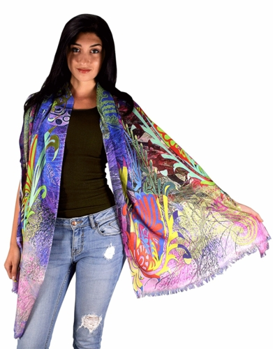 Womens Soft Fashion Artistic Digital Print Long Scarf Wrap Shawl (Purple Paisley)