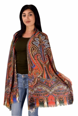 Womens Soft Fashion Artistic Digital Print Long Scarf Wrap Shawl (Red Tribal)