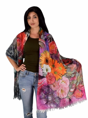 Womens Soft Fashion Artistic Digital Print Long Scarf Wrap Shawl (Rose Floral)