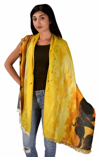 Womens Soft Fashion Artistic Digital Print Long Scarf Wrap Shawl (Sunset Elephants)