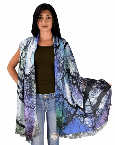 Womens Soft Fashion Artistic Digital Print Long Scarf Wrap Shawl (Twilight Trees)