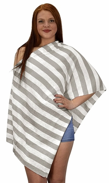 Womens Summer Fashion Light weight Striped Poncho Shrug Cover Up Ash Grey