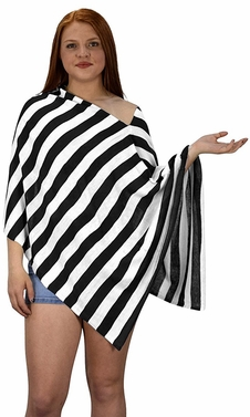 Womens Summer Fashion Light weight Striped Poncho Shrug Cover Up Black
