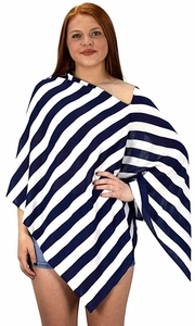 Womens Summer Fashion Light weight Striped Poncho Shrug Cover Up Navy