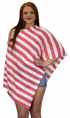Womens Summer Fashion Light weight Striped Poncho Shrug Cover Up Pink