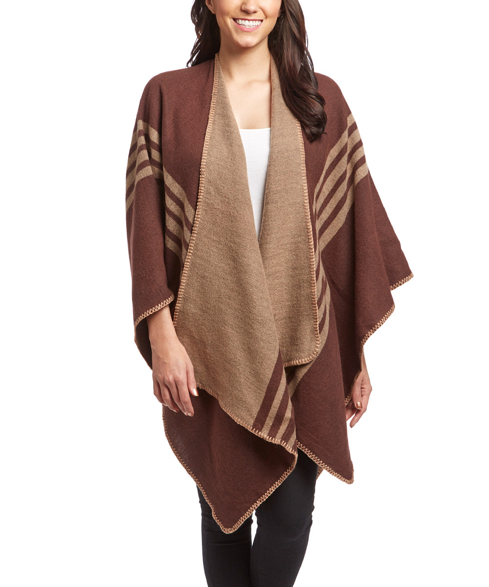 Thick Warm Checkered Striped Poncho Blanket Wrap Shawl (Brown)