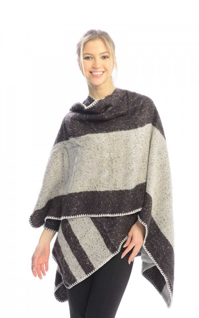 Womens Thick Warm Geometric Striped Poncho Blanket Wrap