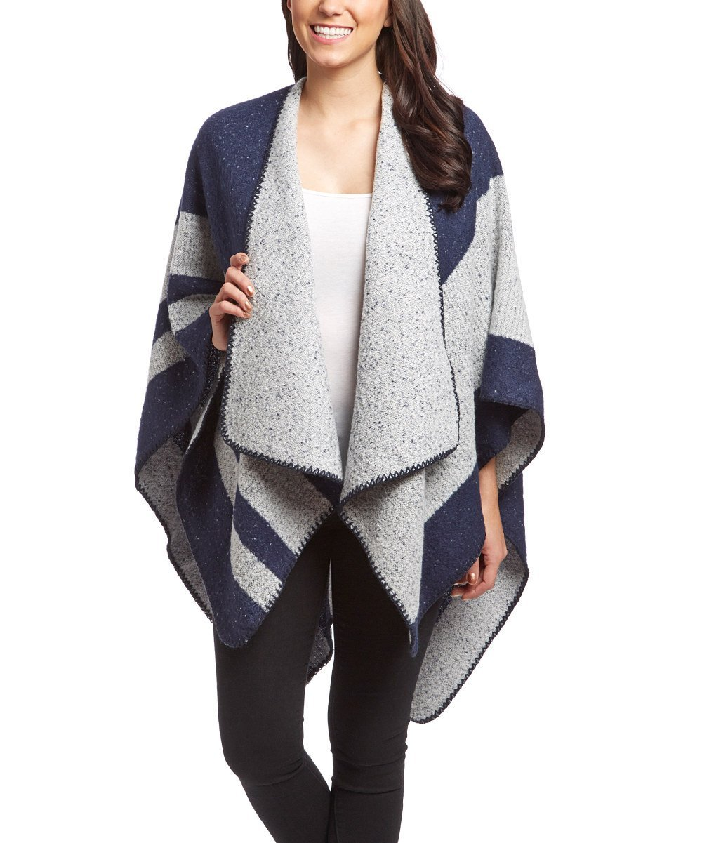 Womens Thick Warm Geometric Striped Poncho Blanket Wrap Shawl (Navy)