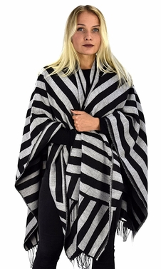 Womens Thick Warm Geometric Striped Poncho Blanket Wrap Shawl (Striped Black/Grey)