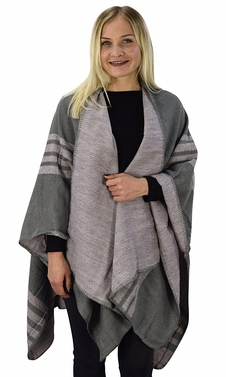 Womens Thick Warm Geometric Striped Poncho Blanket Wrap Shawl (Striped Pink/Grey)