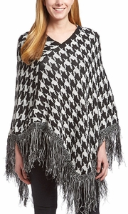 Womens Trendy Thick Warm Geometric Striped Poncho Blanket Wrap Shawl (Houndstooth)