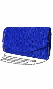 Womens Vintage Satin Pleated Envelope Evening Cocktail Wedding Party Handbag Clutch (Blue)