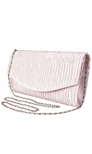 Womens Vintage Satin Pleated Envelope Evening Cocktail Wedding Party Handbag Clutch (Light Pink)