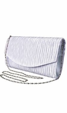 Womens Vintage Satin Pleated Envelope Evening Cocktail Wedding Party Handbag Clutch (Lilac)