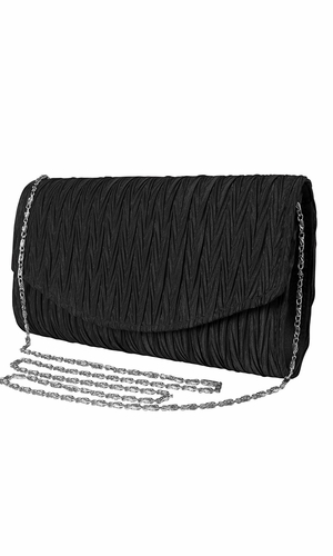 Womens Vintage Satin Pleated Envelope Evening Cocktail Wedding Party Handbag Clutch (Onyx)