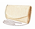 Womens Vintage Satin Pleated Envelope Evening Cocktail Wedding Party Handbag Clutch (Tan)