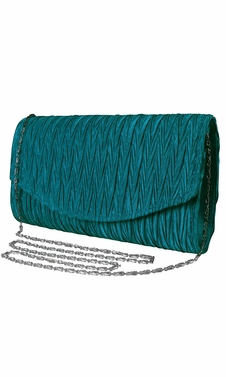 Womens Vintage Satin Pleated Envelope Evening Cocktail Wedding Party Handbag Clutch (Teal)
