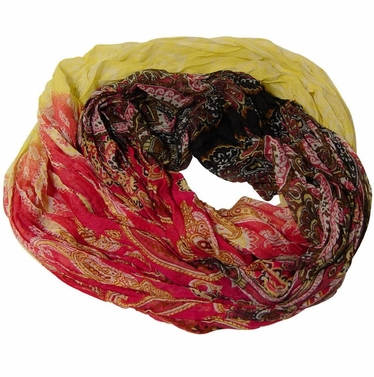 Blended Multicolor Paisley Fashion Infinity Loop Scarf (Yellow/Red)