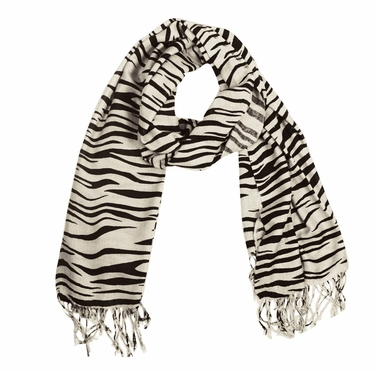 Classic Zebra Striped Pashmina Shawls (White/Black)
