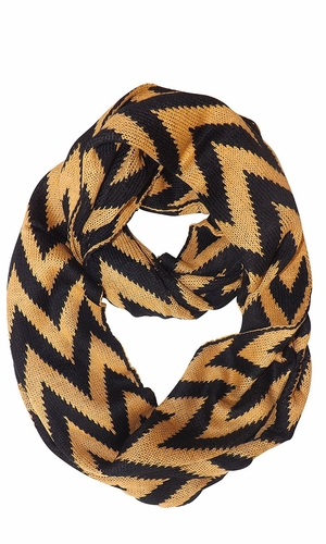 Charming Classic Knit Chevron Infinity Loop Scarves (Tan)