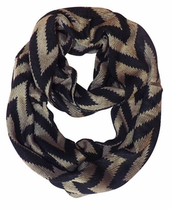 Zigzag Design Knitted Chevron Infinity Loop Scarf (Taupe)